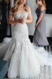 Off-the-shoulder Lace Tulle Cap Short Sleeve Wedding Dress