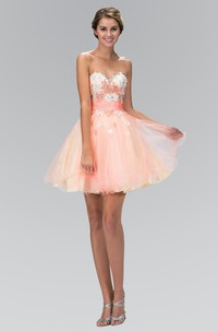 Multi-Color Satin Tulle Jeweled Appliqued A-Line Short Sweetheart Mini Strapless Dress