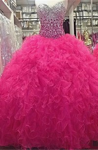 Vintage Sweetheart Sleeveless Tulle Ball Gown Dress