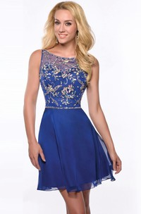 Bateau Sleeveless short homecoming Dress With Beading And Low-V Back