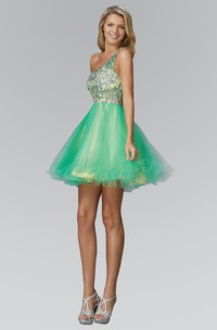 A-Line Jeweled Ruffled Short Mini Sleeveless One-Shoulder Tulle Dress