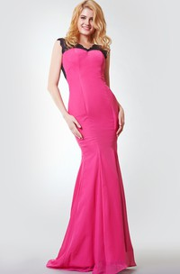 Backless Floor-Length Ruched Criss-Crossed Chiffon A-Line Dress