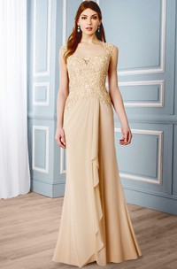Queen Anne draped Mother of the Bride Dress With Appliques And Keyhole