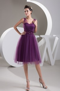 Short-Midi Floral Waist Tulle Strapped Dress