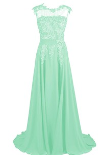 Chiffon Lace Appliqued Jeweled Cap-Sleeve A-Line Gown