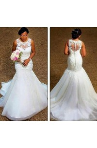 Jewel Organza Lace  Sleeveless Wedding Gown