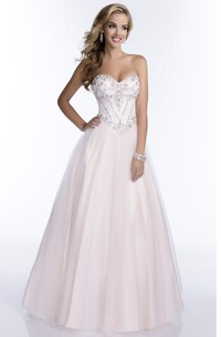 Tulle Irregular Waistline Beaded-Bodice Sweetheart Formal A-Line Dress