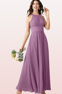 Modern A Line Chiffon Halter Ankle-length Bridesmaid Dress With Ruching