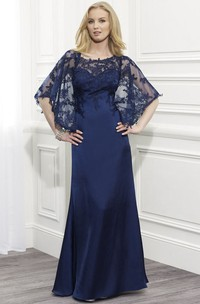 Bateau Bat-sleeve Lace Mother of the Bride Dress With Appliques