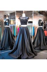 A-line Satin Lace Keyhole Taffeta Long Dress