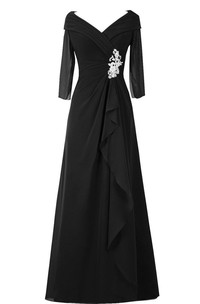 V-neck 3-4-sleeve A-line Dress With draping And Appliques