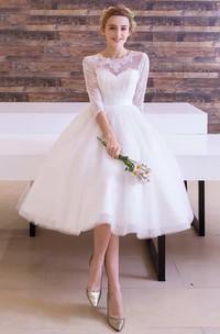 A-line Tea-length Jewel T-shirt 3-4 Length Sleeve Tulle Dress with Pleats