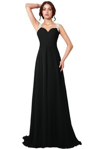 Chiffon Illusion Back A-Line Sleeveless Dress