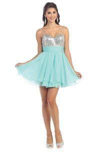 A-Line Mini V-Neck Sleeveless Chiffon Sequins Low-V Back Dress With Beading