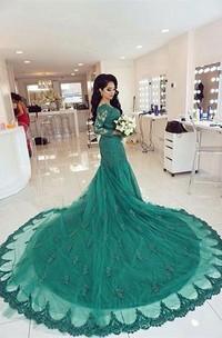 Elegant Lace Appliques Mermaid Evening Dress 2018 Court Train Long Sleeve