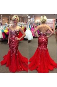 Sweetheart Mermaid Long Sequins Pleats Dress