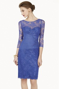 Scoop-Neckline Midi Prom Appliqued Pencil Lace Long-Sleeve Dress