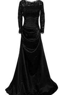 Scoop-neck Long Sleeve A-line Satin Dress With Lace top