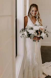Simple Lace V-Neck Sleeveless Deep-V Back Wedding Dress