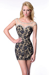 Cap Sleeve Short Sheath Lace Homecoming Dress With Deep V-Back