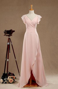 Chiffon V-neck Poet-sleeve Front-split Bridesmaid Dress With back bow