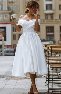 Vintage Sleeveless Off-the-shoulder Tea-length Satin A Line Wedding Dress with Ruching and Criss Cross