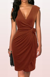 V-neck Jersey Short Sleeve Knee-length Formal Dress with Draping and Ruching