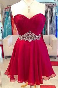 Elegant A-line Sweetheart Chiffon Short Dress With Beading