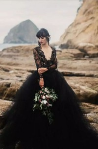 Elegant V-neck Long Sleeve Lace Tulle A-Line Ball Gown Wedding Dress
