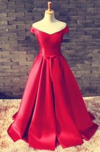 Off-The-Shoulder Bowknot Lace-Up Red Elegant Prom Dress