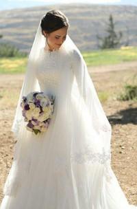 High Neck Lace Tulle Illusion Half Sleeve Wedding Dress