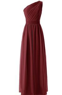 Pleat Belt Chiffon One-Shoulder Dress