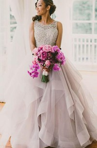 Tulle Ruffled A-Line Sleeveless Brush-Train Gown