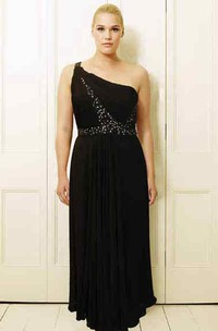 One-shoulder Sleeveless Chiffon Dress With Beading And Pleats
