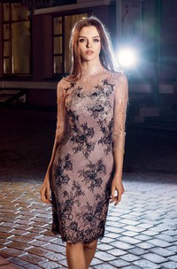 Pencil Appliqued Knee-Length High-Neck Lace 3-4-Sleeve Illusion Dress