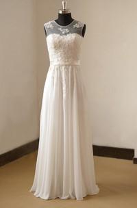 Bridal Pearls Pleats Chiffon Jewel-Neckline Gown