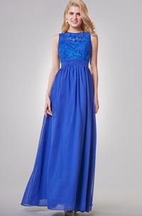 Floor-Length Key-Hole A-Line Jewel-Neck Chiffon Dress