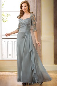 Ruffle Appliques Long 3-4-Sleeved Gown