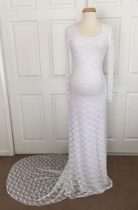 Sheath Scoop Lace Long Sleeve Court Train Lace Maternity Wedding Dress