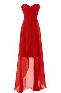 High-Low Chiffon Overlay Sleeveless Sweetheart Dress