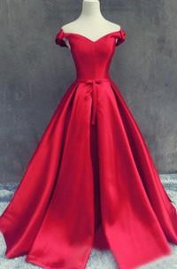 Satin Lace Up Back Off-The-Shoulder Elegant Gown