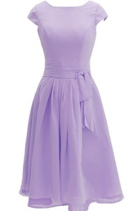Chiffon Sash Midi-Length Cap-Sleeved Dress