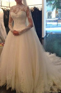 A-line Court Train High Neck Illusion Long Sleeve Tulle Dress with Beading