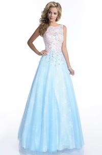 A-Line Jewels Featuring Keyhole Back Sleeveless Bateau-Neck Formal Lace Dress