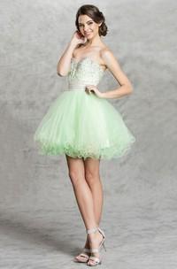 A-Line Backless Jeweled Ruffled Short Mini Strapless Sweetheart Sleeveless Dress