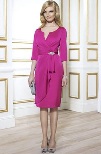 notched Half Sleeve Knee-length Dress With Draping And Split Back