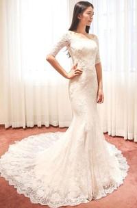Off-the-shoulder Lace Illusion Half Sleeve Wedding Dress