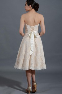 Strapless A-line Tea-length Lace Wedding Dress With Corset Back And bow