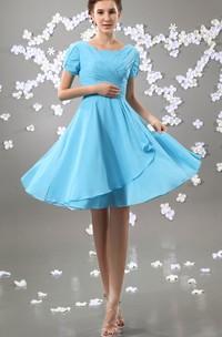 Short Ruched Short-Sleeve Pleated Chiffon Bateau-Neckline Gown