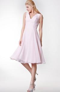V-neck Sleeveless A-line Chiffon short Dress With Zipper